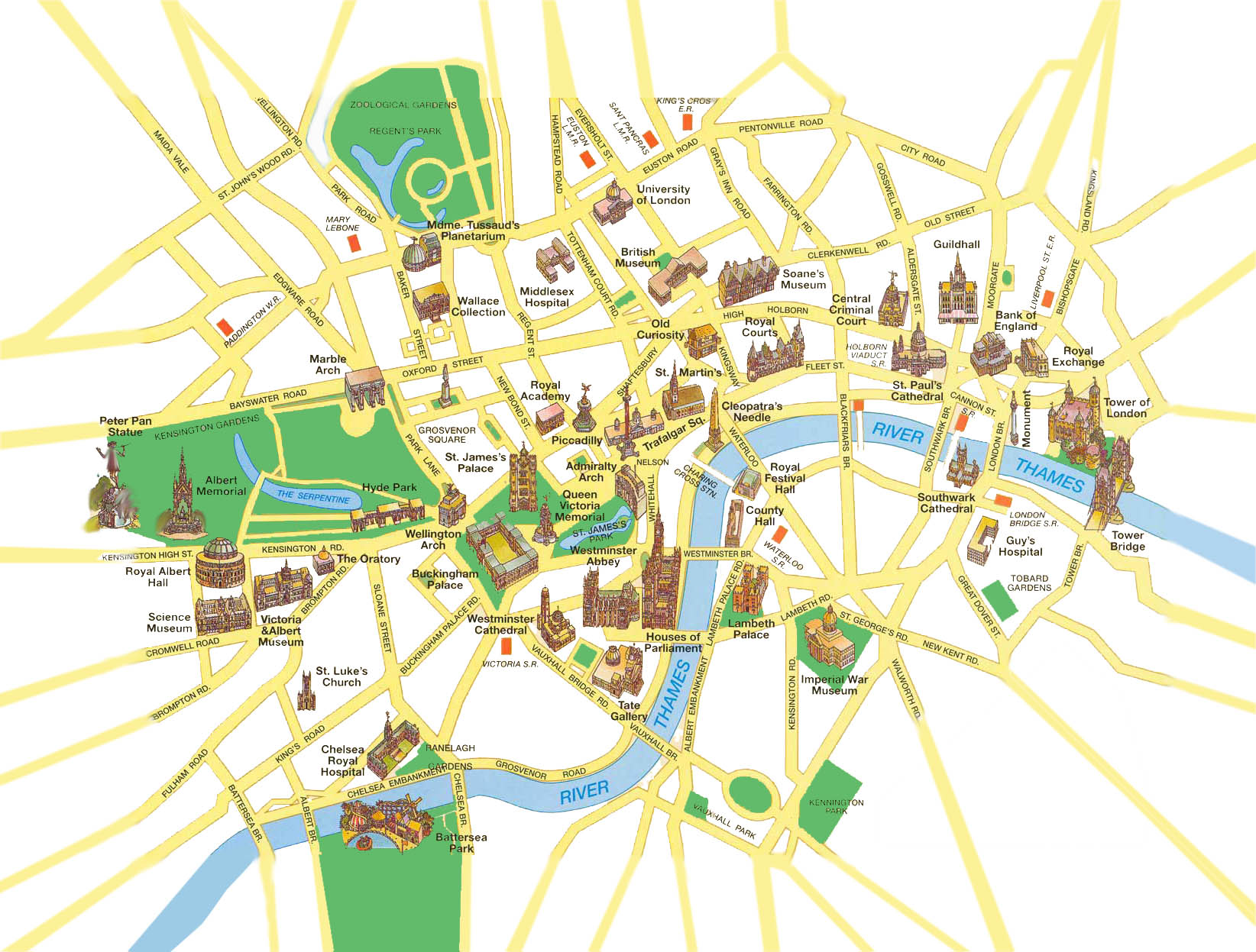 famous tour london spot area map